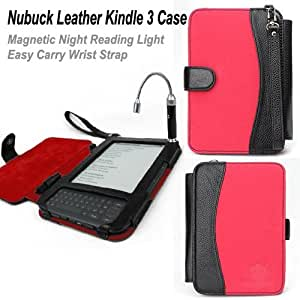 ForeFront Cases® New Black Leather / Red Nubuck Case/Cover with Magnetic LED Night Reading Light For Amazon Kindle 3 / Kindle Graphite + FREE SCREEN PROTECTOR WORTH £4.50