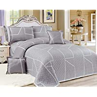 Compressed 6Pcs Comforter Set, King Size, Silver.02 By Moon, Microfiber