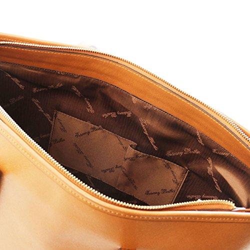 Tuscany Leather TL KeyLuck - Sac à épaule TL SMART en piel Saffiano avec deux anses Bleu Sacs à bandoulière en cuir Noir
