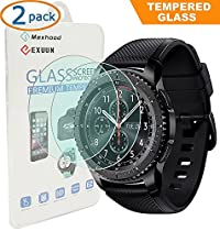Exuun (2-Pack) Samsung Gear S3 Classic / Frontier Screen Protector Tempered Glass , 0.3mm Ultra Thin 9H Hardness 2.5D Round Edge Tempered Glass for Samsung Gear S3 Classic / Frontier