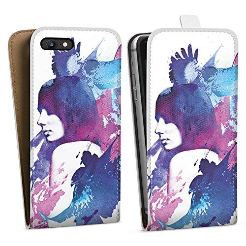 Apple iPhone X Silikon Hülle Case Schutzhülle Frau Fantasie Vögel Downflip Tasche weiß