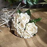 Vivianu Lot de 9 roses artificielles en soie, bouquet de mariage, couleur contraste, décoration de maison, 6 grandes têtes et 3 bourgeons pas cher 13