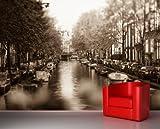 selbstklebende Fototapete - Amsterdam - Niederlande - sephia - sepia - 75x50 cm - Tapete mit Kleber – Wandtapete – Poster – Dekoration – Wandbild – Wandposter – Wand – Fotofolie – Bild – Wandbilder - Wanddeko