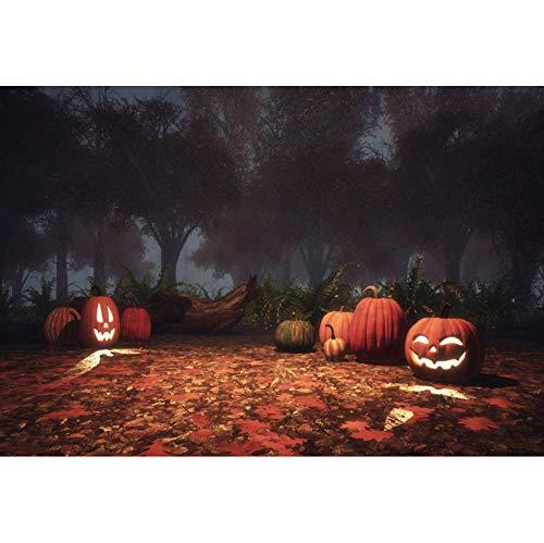 OERJU 2,7x1,8m Halloween Hintergrund Kürbislaterne Ahorn Fotografie Geheimnisvolles Holz Wald Hintergrund Süßes oder Saures Halloween Party Dekoration Porträt Requisiten