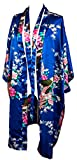 CCCollections kimono night dress 16 colours dressing gown robe lingerie night wear dress bridesmaid hen night (Blu Reale (royal blue))