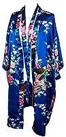 Kimono de CC Collections 16 colores shipping bata de vestir túnica lencería ropa de noche prenda despedida de soltera (azul real / oscuro)