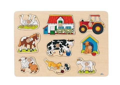 Goki - 2041556 - Puzzle En Bois À Encastrement - Ferme I - 9 Pièces
