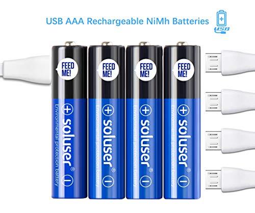 Wiederaufladbare AAA Akku Batterien, Wiederaufladbare USB AAA Akku Batterien 500mAh mit 4 USB Anschlüssen Hohe Kapazität 1,2 V NI-MH Wiederaufladbare Batterie über USB Kabel(4Pack)