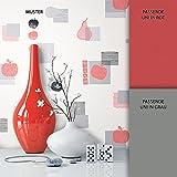 NEWROOM Tapete Rot Apfel Birne Küche Vliestapete Grau Vlies moderne Design Optik Tapete Landhaus inkl. Tapezier Ratgeber