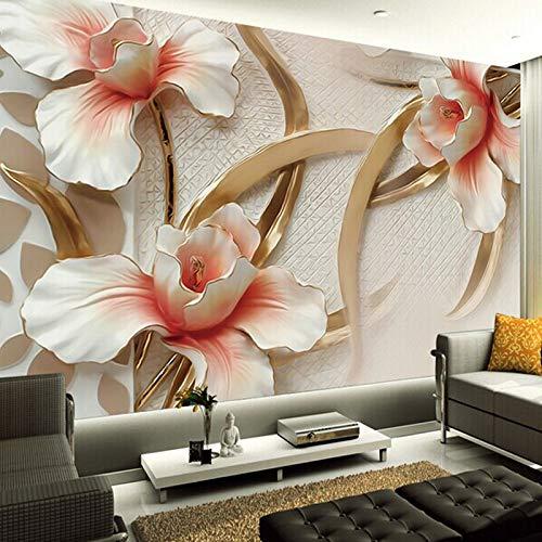Amazhen 3D-Fototapete Stilvolle minimalistische große Wandrelief Lily Wandmalereien Wohnzimmer...