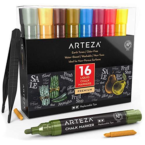 ARTEZA Kreidestift Set, 16 Kreidemarker in 16 Erdtönen, 16 austauschbare Keilspitzen, 1 Pinzette, 50 Etiketten, 2 Schablonen, ungiftig, wasserbasiert und löschbar, für viele Oberflächen