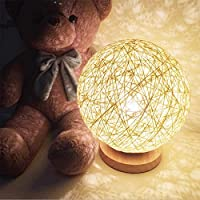 KNO For Rattan Ball Style Energy Saving Night Light Lampshade Home Dining Decoration Lamps Bedside Lamp LED For Bedroom Gift. (white)) from KNONEW