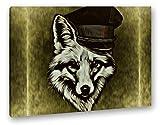 Fuchses mit einer Militärmütze Effekt: Zeichnung Format: 60x40 als Leinwandbild, Motiv fertig gerahmt auf Echtholzrahmen, Hochwertiger Digitaldruck mit Rahmen, Kein Poster oder Plakat