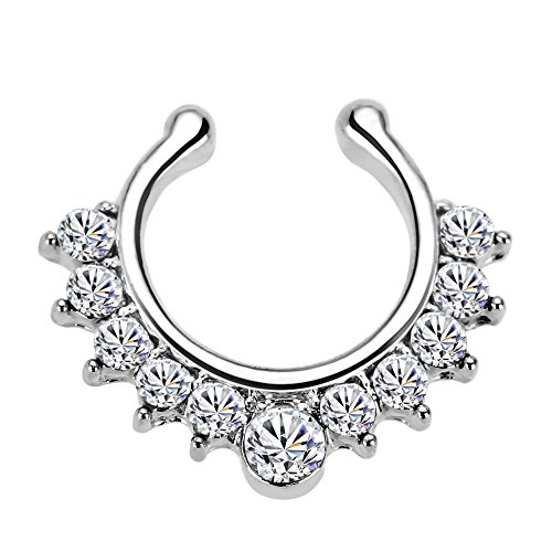 Mayitr Fake Nasenpiercing Clip on Nasering No Piercing Septum Schmuck Zirkonia (Silber)