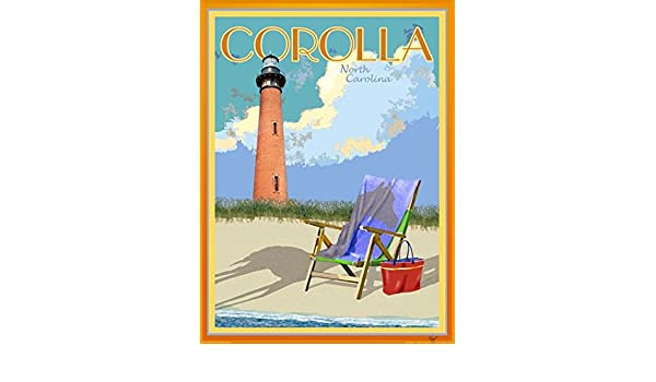 NC Framed Art Deco Style Travel Poster -by Aurelio Grisanty Wrightsville Beach