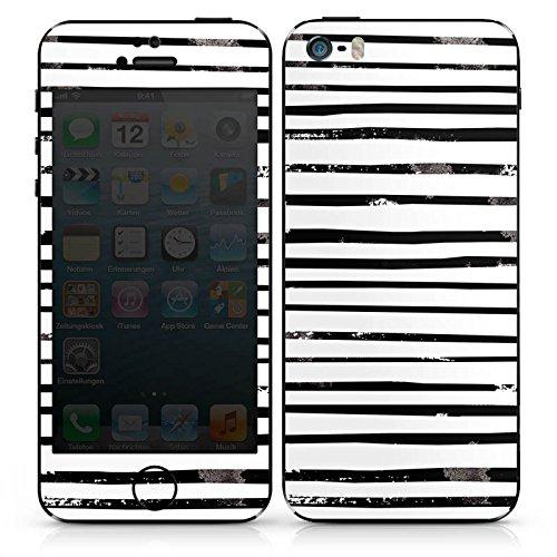 Apple iPhone SE Case Skin Sticker aus Vinyl-Folie Aufkleber Streifen Schwarz Weiß Muster DesignSkins® glänzend