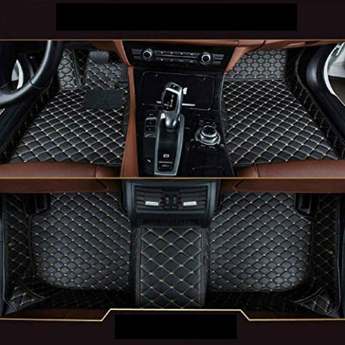 8X-SPEED Auto-Fußmatten Leder Bodenmatte für B MW 3 Series GT F34 328i 320i 335i 2013-2019,Volldeckung wasserdichte Anti Rutsch Anti-Kratz Schwarz Mit Beige Linie Automatten -