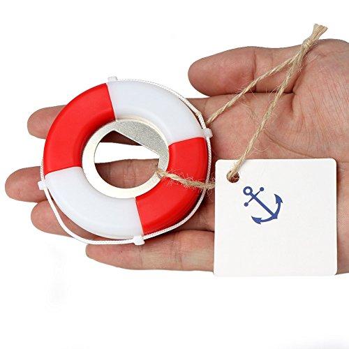 Aytai 20pcs Hochzeit Bevorzugungen Mini Life Saver Flaschenöffner mit Anker Tags für Nautische Thema Hochzeit Dekorationen Party Supplies