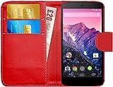 G-Shield Hülle für Google Nexus 5 Klapphülle mit Kartenfach - Rot