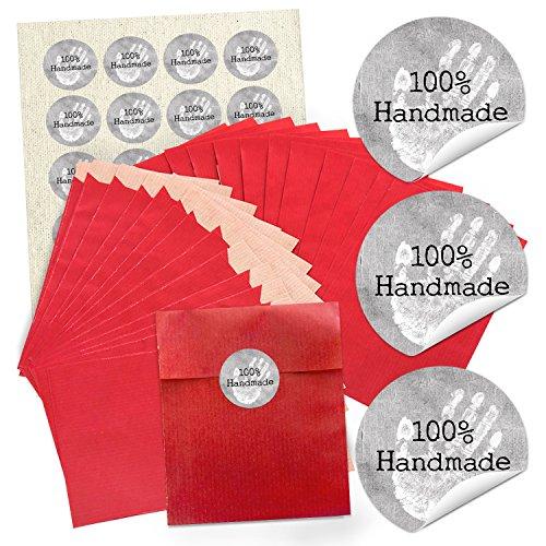 """Preisvergleich Produktbild 96 rote Papiertütchen (13 x 18 cm) und 96 runde Aufkleber Sticker """"100% Handmade"""" zum liebenvollen Verpacken von kleinen Geschenken und anderen Dingen; 1a Qualität!"""