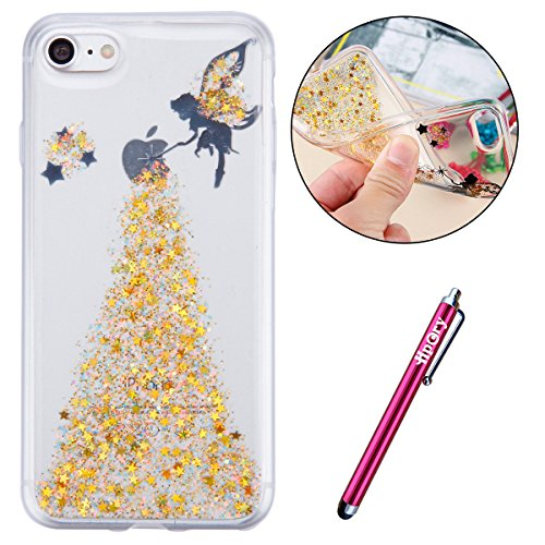 iPhone 7/8 Plus Coque de Luxe,iPhone 7/8 Plus Case Shockproof,Hpory Beau élégant Luxury Cristal Clair Bling Diamant Strass Brillante Bling Ring Stand Holder Ultra Thin PC dur + TPU Gel Silicone Etui H Glitter,Jaune