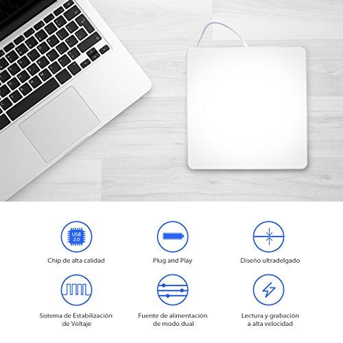 TOPELEK Grabadora CD Externa  Lector de CD/DVD  Disco Identificación Automática  Reproductor CD/DVD para Windows Mac OS Laptop Macbook Air y Otros Sistemas Aspecto Clásico  Ligero y Portátil Plata