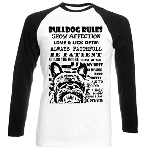 Teesquare1st Men's FRENCH BULLDOG DOG RULES PB 28 Black Long Sleeved T-Shirt Size Medium
