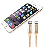 CABBRIX® Apple Lightning Kabel Daten- und Ladekabel [2-Pack] für iPhone X 10 8/8 Plus 5 5s 5c SE 6 6s/6s Plus 7/7 Plus iPad Pro mini 3 4 Pro Air 2 - 1,8m [Apple zertifiziert - MFI] - 2x Gold Edition