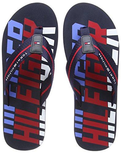 Tommy Hilfiger Herren Bold Hilfiger Beach Sandal Zehentrenner, Blau (Midnight 403), 42 EU