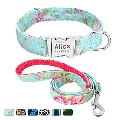 Beirui Personalisiertes Hundehalsband und Leine, Set mit Schnellverschluss-Schnalle, 1,2 m lang, mit Leine und Halsband mit Blumenmuster, verstellbares Halsband für kleine und mittelgroße Hunde -