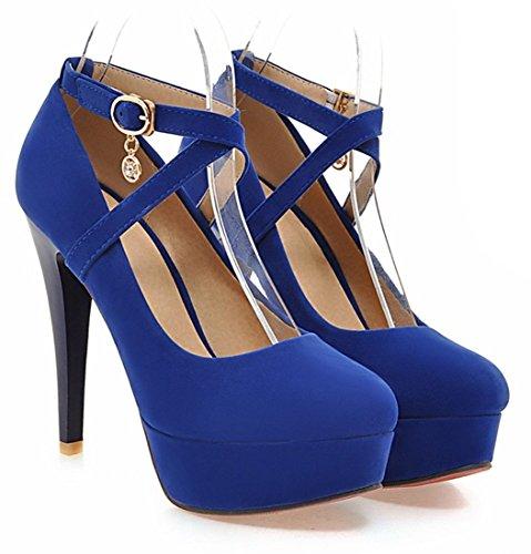 YE Frauen Riemchen High Heels Plateau Geschlossen Round Toe Wildleder Nubukleder Stiletto Damen Rote Sohle Knoechelriemchen Pumps Schuhe Blau