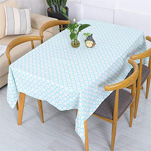 kunyuKY Tablecloth Cotton Simple Yellow Plaid Black and White Dot Small Tree Geometric Meal Table Cloth Coffee Table Cloth 140x260cm Light Cyan (Black Light Table Cloth)