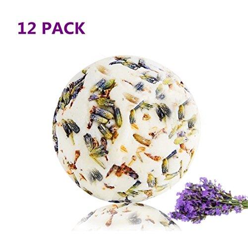 12 Bad Bomben (JUKUB 12 Pack Lavendel Bad Bomben Geschenk-Set Bio und Natürliche Badebombe Kit Perfekt Für Bubble & Spa Bad Geschenke Für Frauen Mama Girls Teens Kinder, 12 * 70 G)