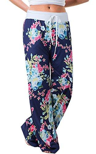 Angashion Damen Blumenmuster Weite Bein Lange Hose, Blau0447, EU 2XL(42)