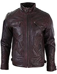 Aviatrix Mens Wine Burgundy Real Leather Retro Zipped Biker Jacket Washed  Soft Vintage def99a6c2e2