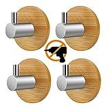 Hakenleiste Kleiderhaken 304 Edelstahl Rostfrei & Bambus Wandgaderobe Handtuchhalter Garderobenhaken Wandhaken Mehrzweckhaken Befestigen Ohne Bohren (4 Stück 1 Haken L)