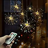 TYSYA Festival Luci a Stella Sospese 120 LED DIY Fuoco d'artificio Rame Ghirlanda Luce di Natale Casa All'aperto Festa Decorazione Scintillio della Luce,Packof6