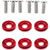 Homyl 6x Arandelas y 6x Tornillos Kit Reparación de Marco Matrícula Faro - Rojo