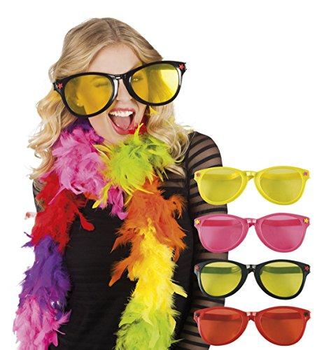 erdbeerclown - Damen Jumbo Sonnenbrille, Kostümzubehör, Karneval, Fasching, Gelb