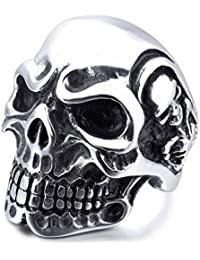 MunkiMix Acero Inoxidable Anillo Ring El Tono De Plata Negro Cráneo Calavera Hueso Hombre