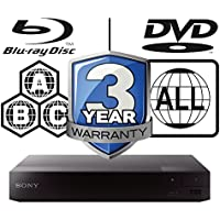 SONY BDP-S3700 smart wifi Multi Region-Free All Zone Blu-ray Player. Blu-ray Zones A, B and C, DVD Regions 1 - 8