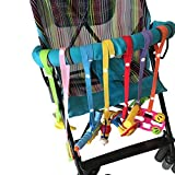 ZUMUii Butterme bebé Juguete Harness Strap Cup Plana Strap Chupete Clip Juguete Cuerda para Cochecito High Chairs Asientos de Coche de Longitud Regulable a Juguete Sanitaria 7 Packs
