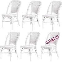 Lote de 6 sillas de ratan Selva blanca modernas y baratas