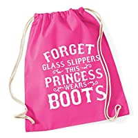 HippoWarehouse Forget glass slippers this princess wears boots Drawstring Cotton School Gym Kid Bag Sack 37cm x 46cm, 12 litres