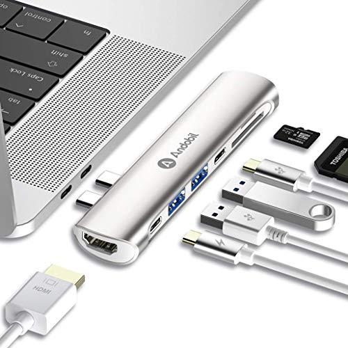 """andobil USB C Hub, USB C Adapter Speziell für Mac, für MacBook Pro 2018/2017/2016 13\""""&15\"""", MacBook Air 2018 13\"""", mit Thunderbolt 3 Port,4K HDMI, Type C und USB 3.0 Ports, SD/TF Kartenleser, Silber"""