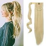 Queue de Cheval Extension a Fibres [Wrap Around Ponytail] On Dirait de Vrai Cheveux [58CM][Blond Blanchi]