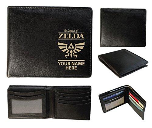 Personalisierte Herren-Geldbörse Leder–Laser markiert mit ihren Namen & Legend of Z Design, schwarz, Sandringham