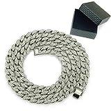 WANZIJING Halsketten für Herren, Full Diamond kubanische Kette Link Hip Hop Ice Out Link Halskette Schmuck für Vatertagsgeschenk,Silver,24''