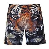 LuckyGirls Pantalones Hombre Cortos Chandal Originales Estampado de Tigre Casuales Running Jogger Elasticos Músculo Playa Pantalón Tallas Grandes (S~3XL) (S, Negro)