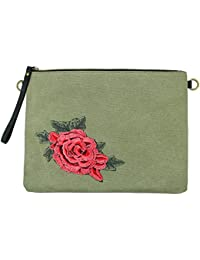 Mevina Damen Clutch Rosen Patches kleine Tasche Aufnäher Patch Canvas Tasche Umhängetasche viele Farben – 32x25x5 cm (B x H x T)